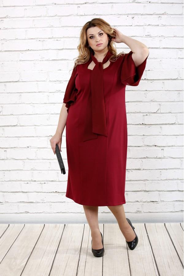 Фото Бордове стильне плаття | 0730-3