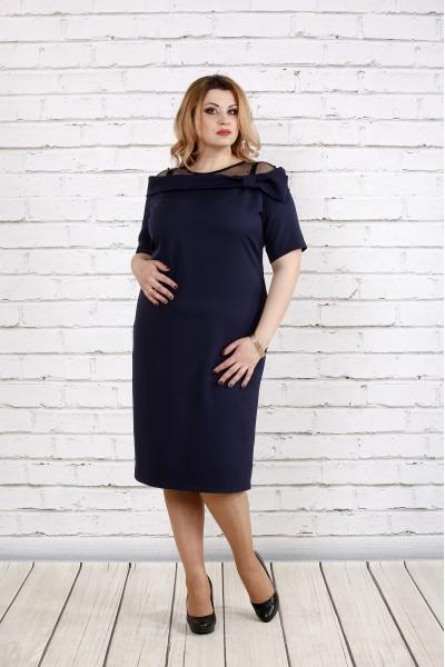 Фото Синє гарна сукня з костюмкі, сітка з намистинами | 0734-1