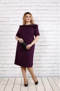 Фото Стильное и нарядное баклажановое платье | 0734-2