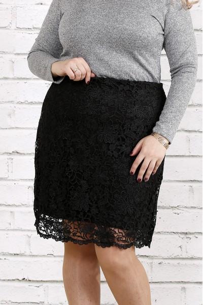 Черная трикотажная юбка с макраме | 0736-1