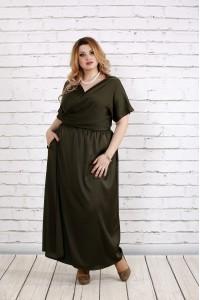 Фото Платье в пол цвета хаки | 0742-2