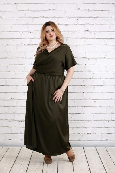 Фото Плаття до підлоги кольору хакі | 0742-2