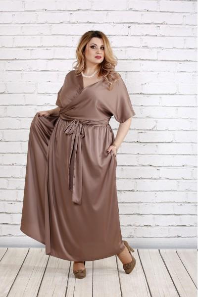Фото Кофейное благородное платье из шелка | 0742-3