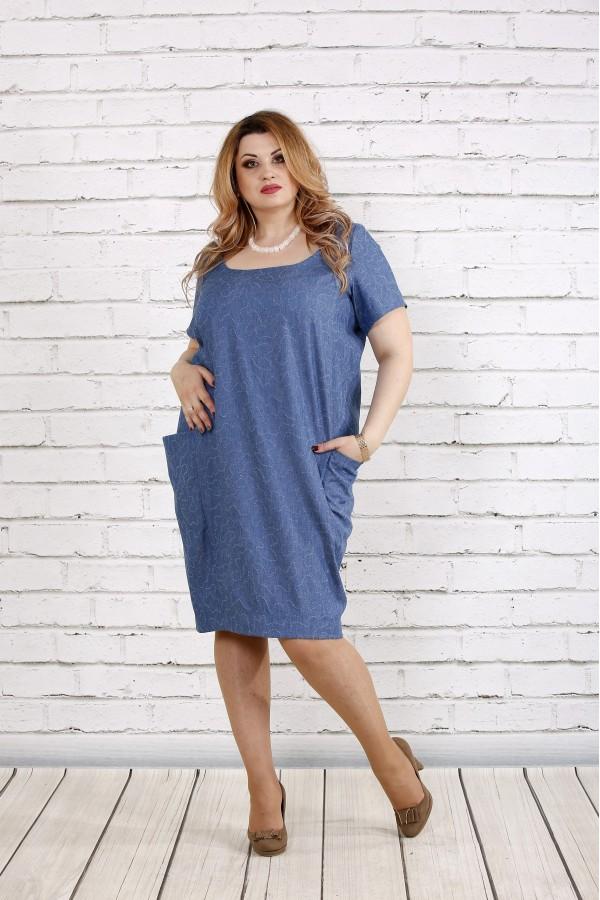 Фото Плаття-мішок джинсового кольору | 0743-1