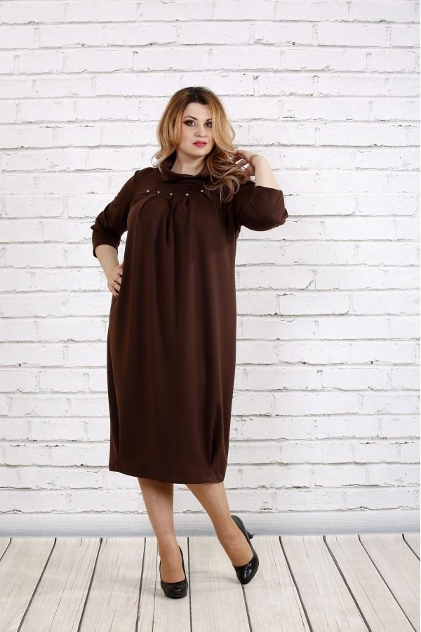 Фото Шоколадне вільне плаття з горловиною | 0744-2