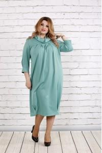 Фото Красивое скрывающее платье цвета шалфей | 0744-3
