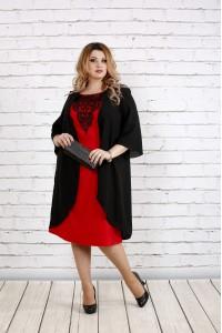Черное свободное платье с алым | 0747-1