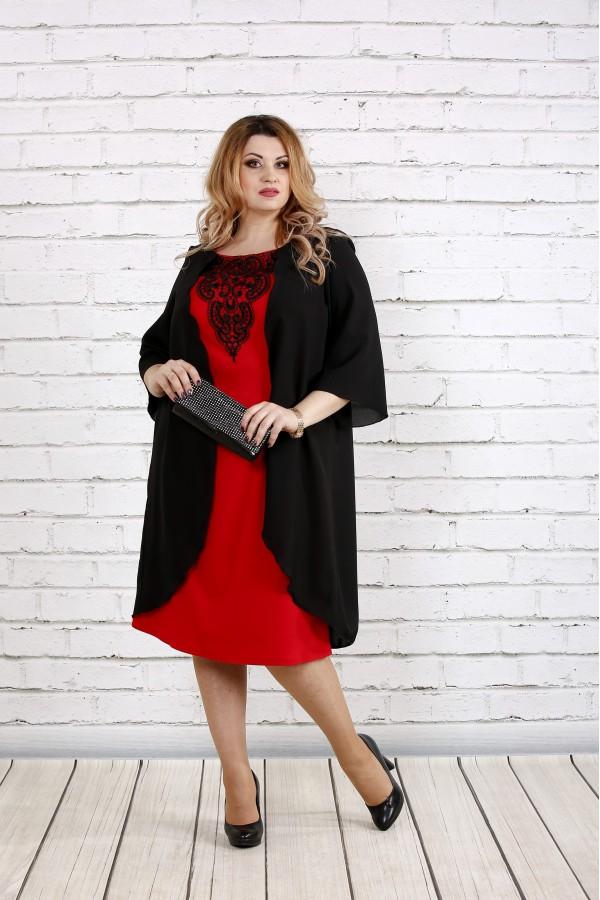 Фото Черное свободное платье с алым | 0747-1