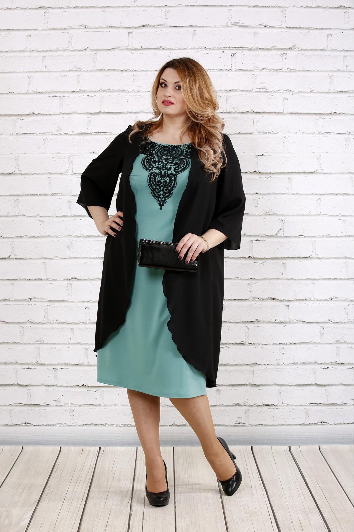 5dabf883d Чорне з шавлією плаття з трикотажу купити недорого | 0747-2