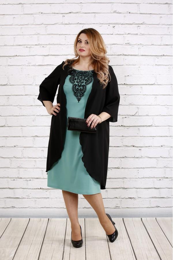 Фото Черное с шалфеем платье из трикотажа | 0747-2