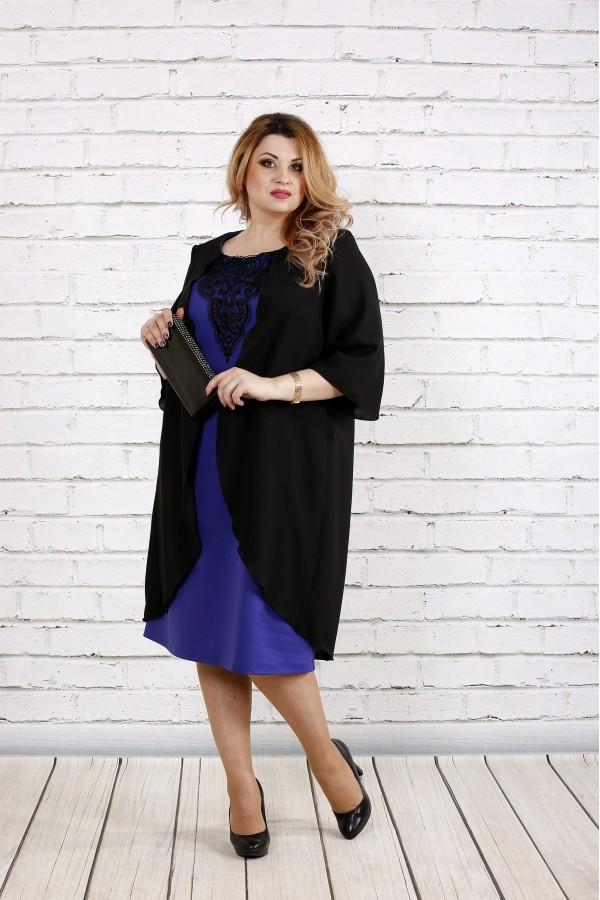 Фото Фиолетовое платье с кружевом | 0747-3