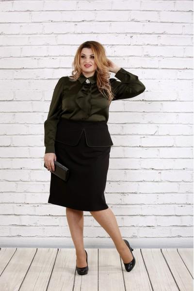 Фото Блузка из шелка цвета хаки | 0750-2