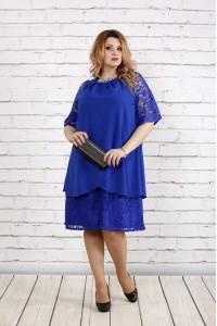 Платье с гипюром цвета электрик | 0751-1