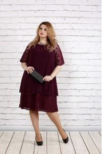Фото Баклажановое платье свободного фасона | 0751-3