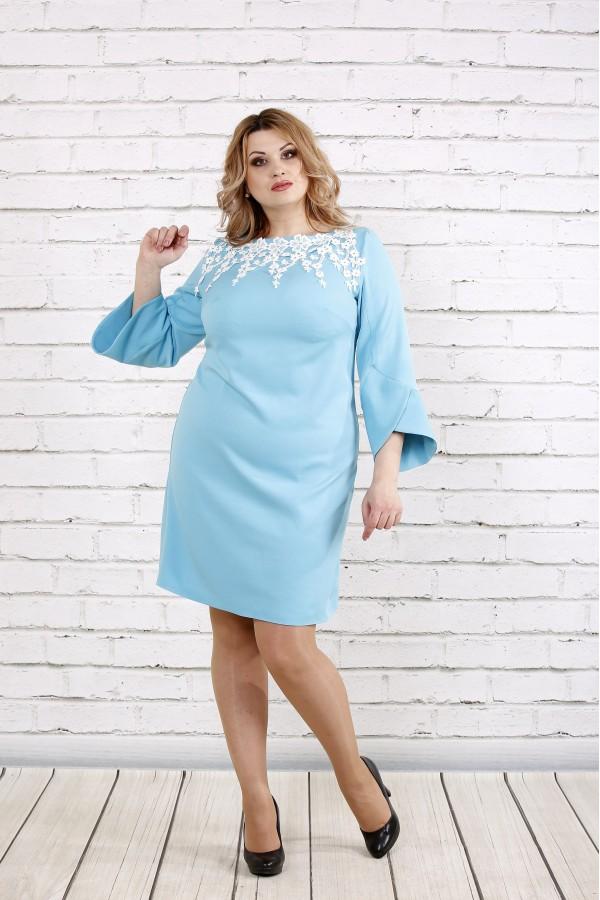 Фото Платье с прошвой нежного голубого цвета  | 0760-2