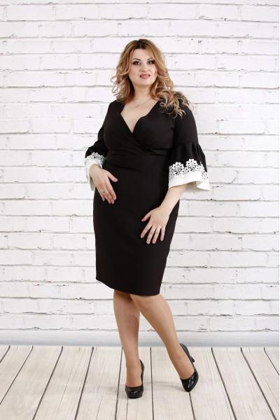 Фото Чорна сукня з мереживом на рукавах | 0761-1