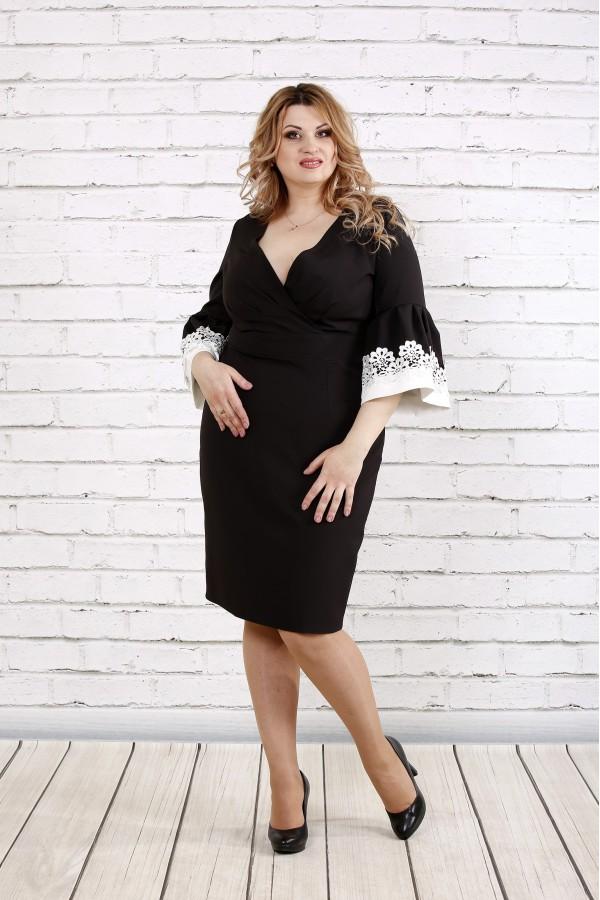 Фото Черное платье с кружевом на рукавах | 0761-1