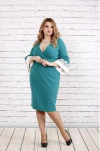 Фото Бирюзовое стильное и нарядое платье | 0761-3