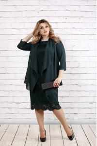 Зеленый костюм: платье и накидка | 0765-3