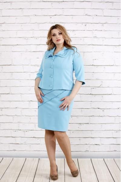 Фото Строгий и нежный голубой костюм (платье и жакет) | 0766-1