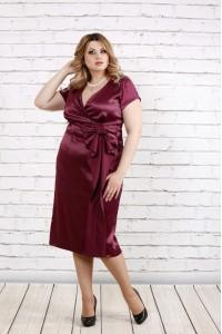 Бордовое атласное платье | 0768-1