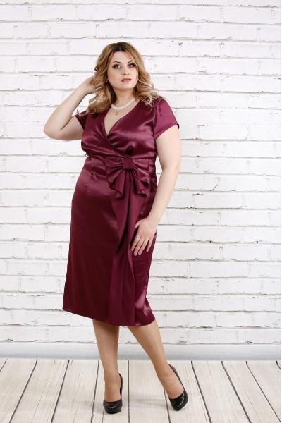 Фото Бордовое атласное платье | 0768-1