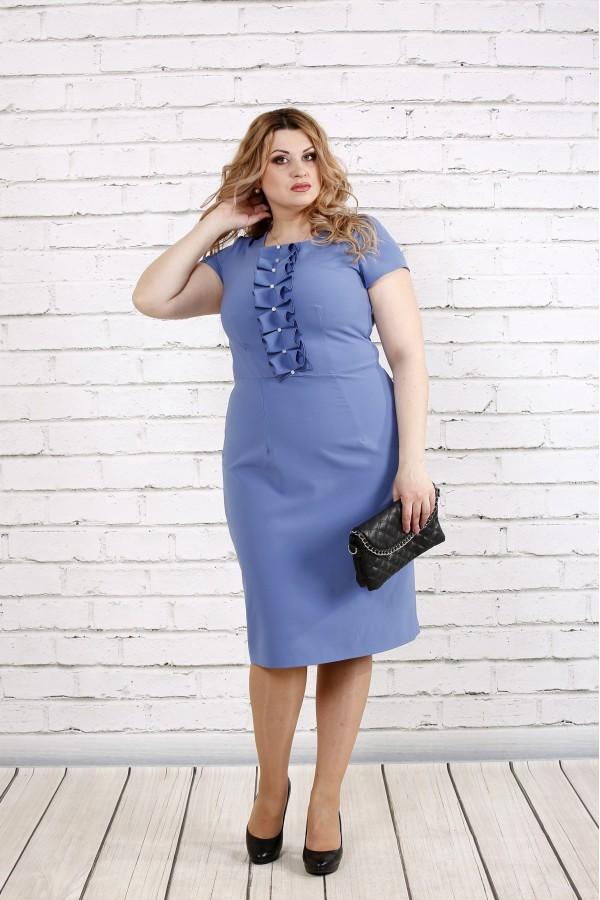 Фото Платье цвета джинс с коротким рукавом | 0771-1