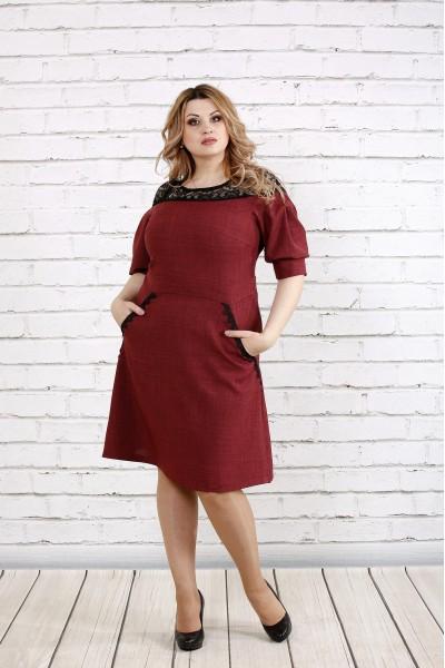 Бордовое льнаное платье с кружевом | 0773-2