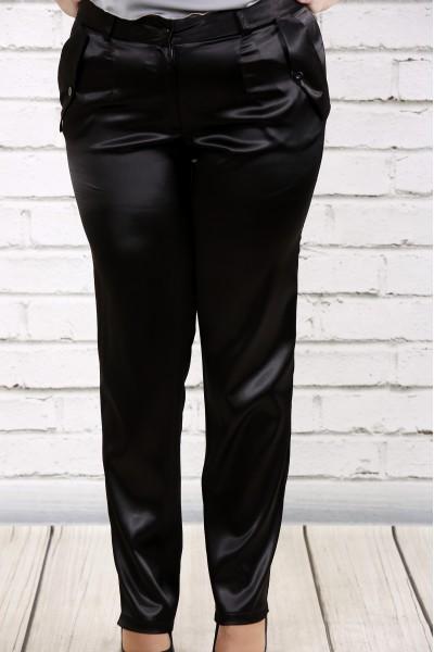 Фото Чорні брюки з щільного атласу | b036-1