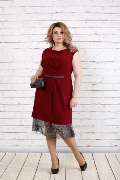 Фото Платье с шифоном бордо | 0774-2