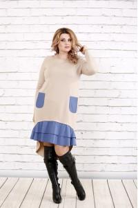 Фото Бежевое платье с длинным рукавом | 0775-1