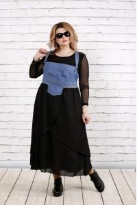 Фото Синий сарафан с пышной юбкой (блузка отдельно) | 0783-2