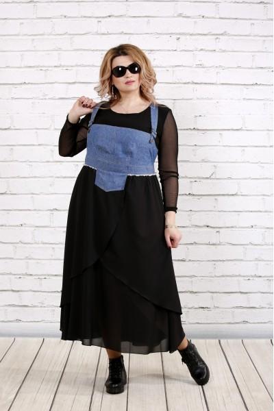 Фото Синій сарафан з пишною спідницею (блузка окремо) | 0783-2