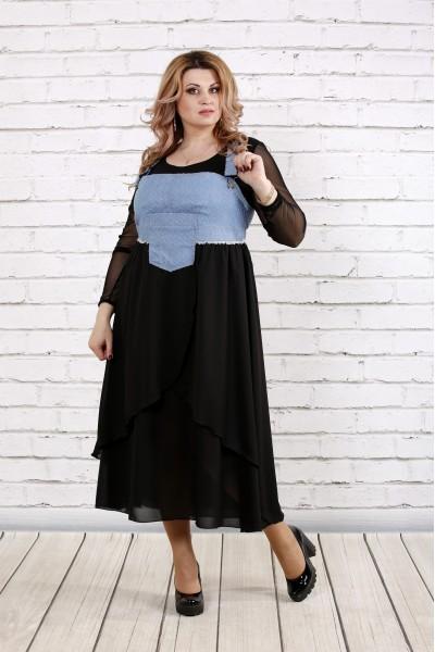 Світло-блакитний сарафан (чорна блузка окремо) | 0783-3