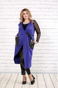 Фиолетовая жилетка с карманами | 0784-3