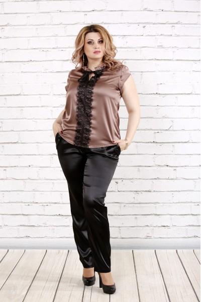 Фото Кофейная блузка с кружевом | 0785-3