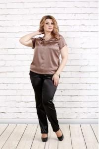 Фото Кофейная блуза из шелка | 0789-3