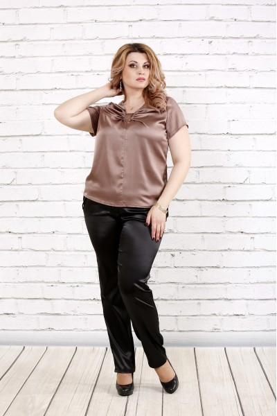 Фото Кофейная блуза из шелка   0789-3
