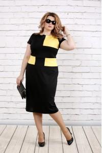 Платье черное с желтым | 0790-1