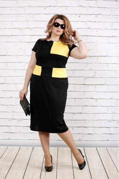 Фото Плаття чорне з жовтим | 0790-1