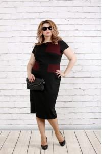 Черно-бордовое платье  | 0790-2