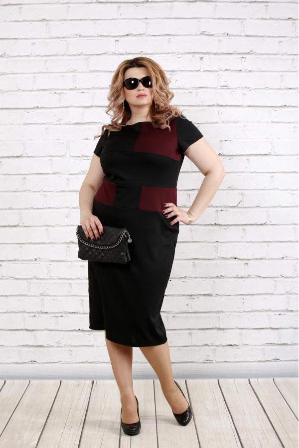 Фото Черно-бордовое платье  | 0790-2