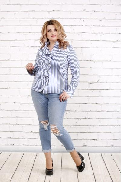 Фото Блакитна смугаста блузка | 0793-2