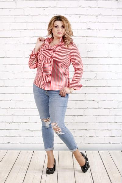 Фото Біла блузка в червону смужку | 0793-3