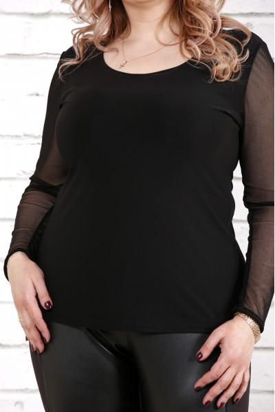 Фото Чорна блузка з сіткою | 0794-1