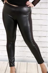 Фото Черные брюки с эко-кожей | b038-1