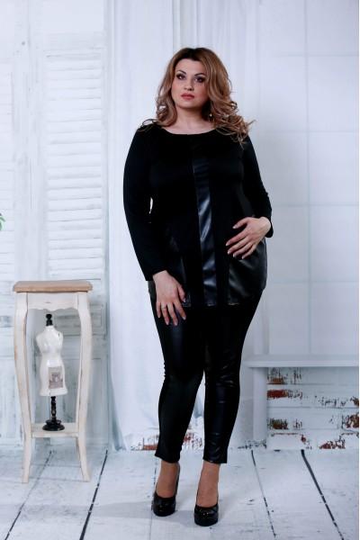 Фото Чорний костюм з еко-шкірою | 0795-2