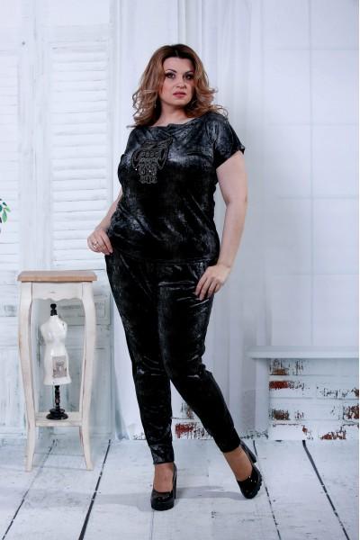 Фото Черный модный костюм из велюра (другой принт) | 0796-3