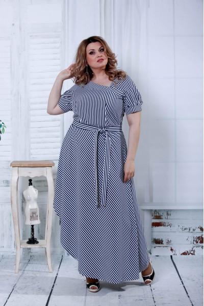 Фото Синее платье в черную полоску  | 0802-1