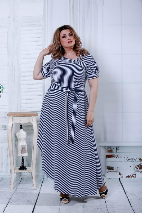 Фото Синє плаття в чорну смужку   0802-1